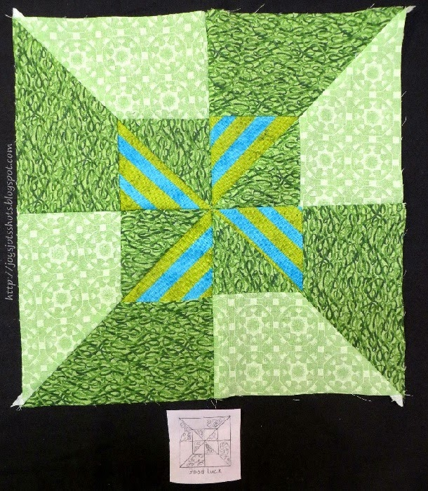 http://joysjotsshots.blogspot.com/2014/03/quilt-shot-block-22-good-luck.html