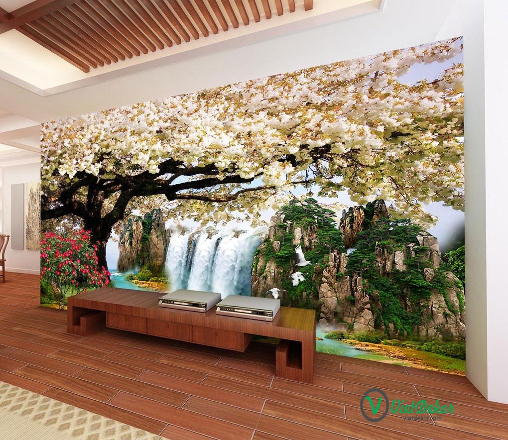 Tranh 3d dán tường phong cảnh thác nước chim hạc và hoa