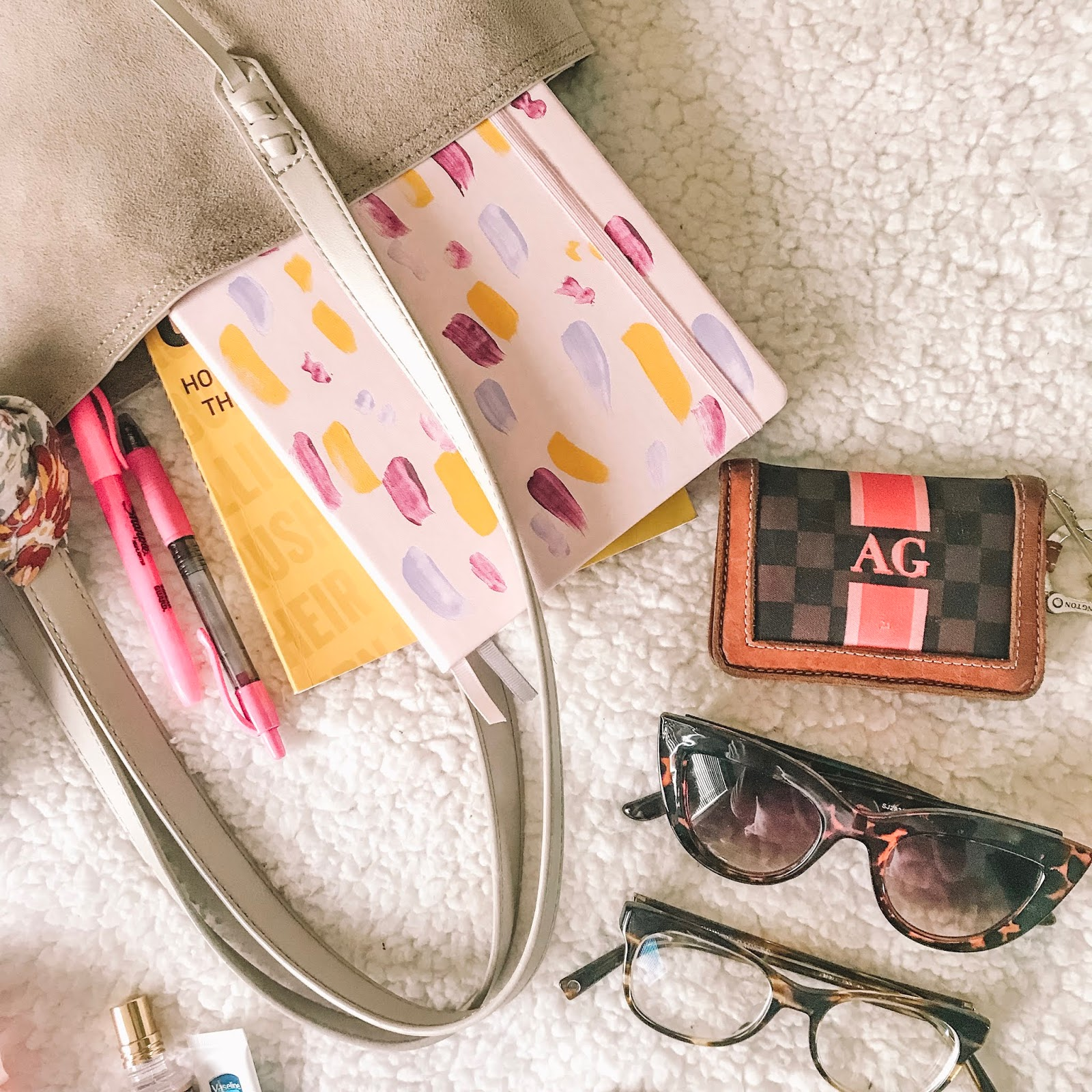books, recommendations, wallet, glasses