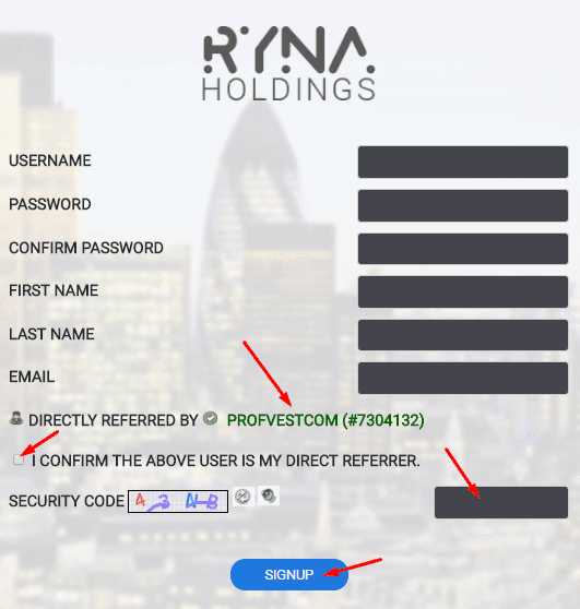 Регистрация в Ryna Holdings 2
