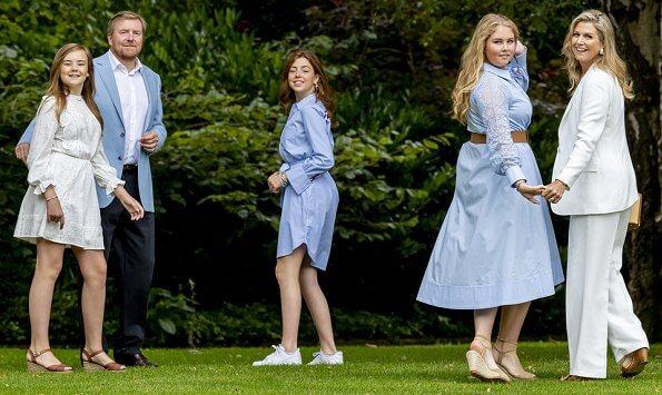 Princess Amalia in Self-portrait dress. Princess Alexia in Tommy Hilfiger dress. Princess Ariane in Maje dress. Queen Maxima