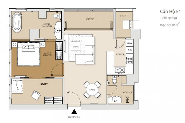 căn hộ 1 phòng ngủ tháp Brilliant dự án căn hộ Đảo Kim Cương