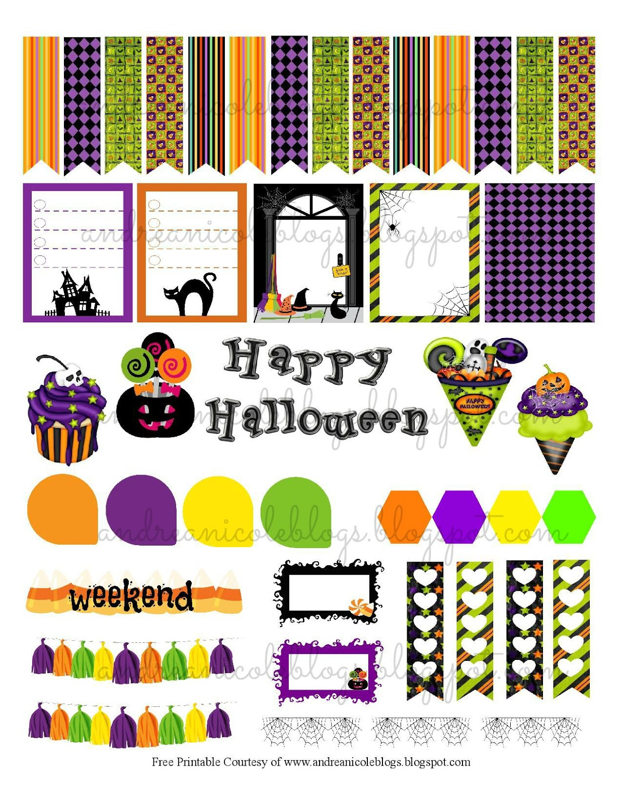 Andrea Nicole: Free Printable Halloween Planner Page Decor