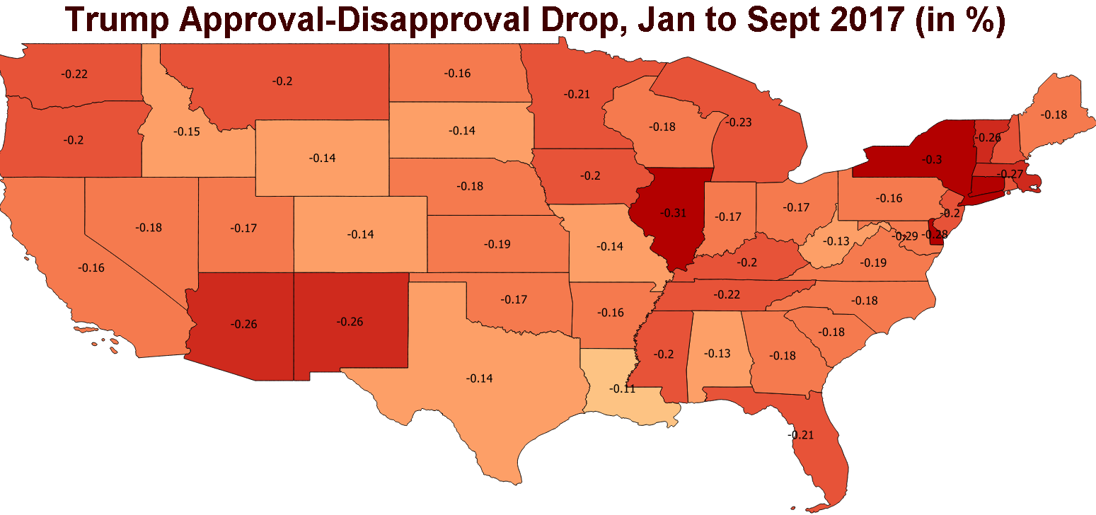 Sociologist In Fall Creek Place Mapping Trump S Drop In Approval