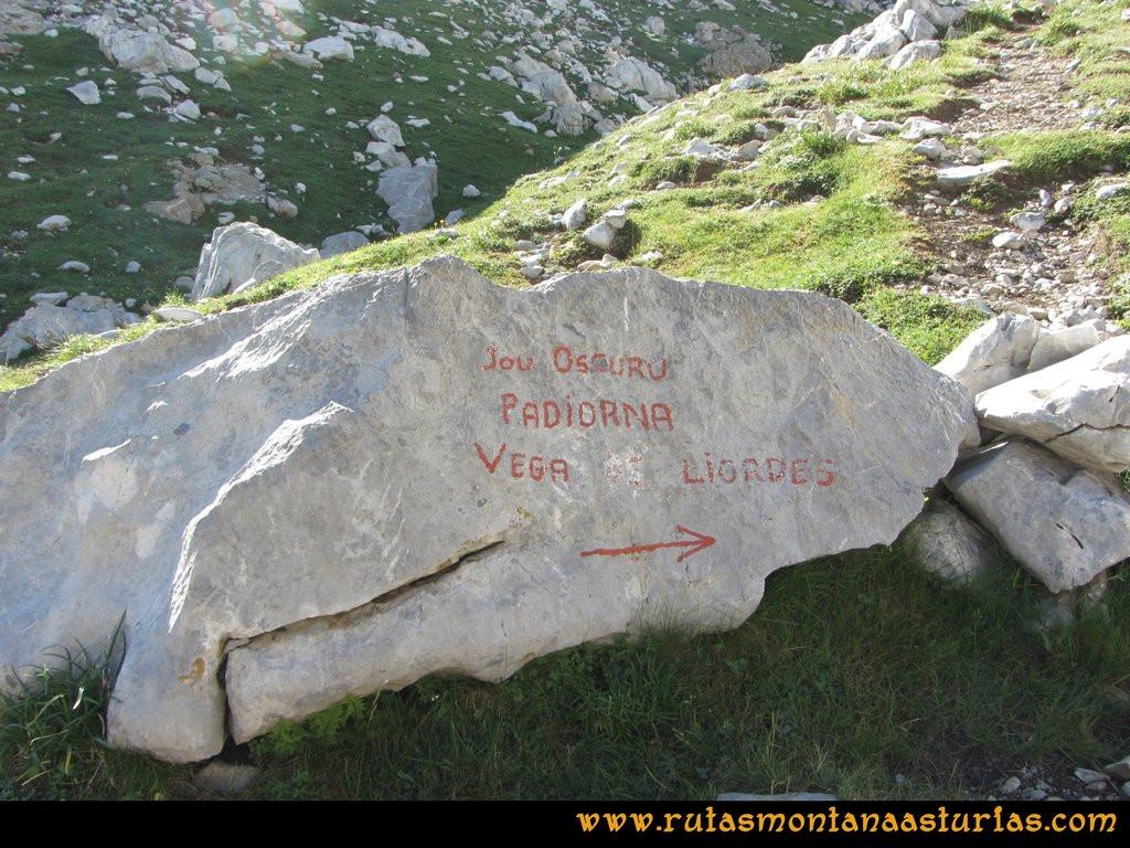 Ruta el Cable, Padiorna, Collado Jermoso, Palanca, Fuente De: Señal en la piedra camino a la Padiorna