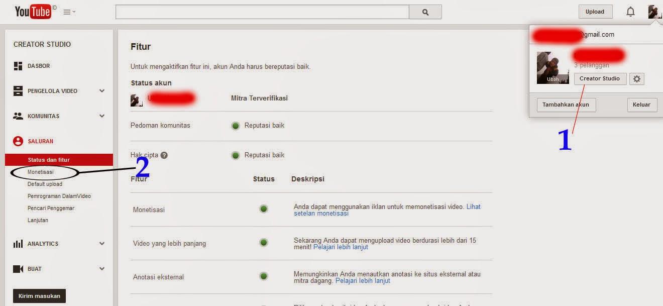 tutorial cara mudah mengaitkan channel youtube ke akun adsense