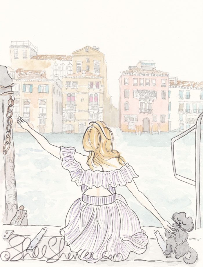 Venice View Illustration, Fashion & Fluffballs © Shell Sherree