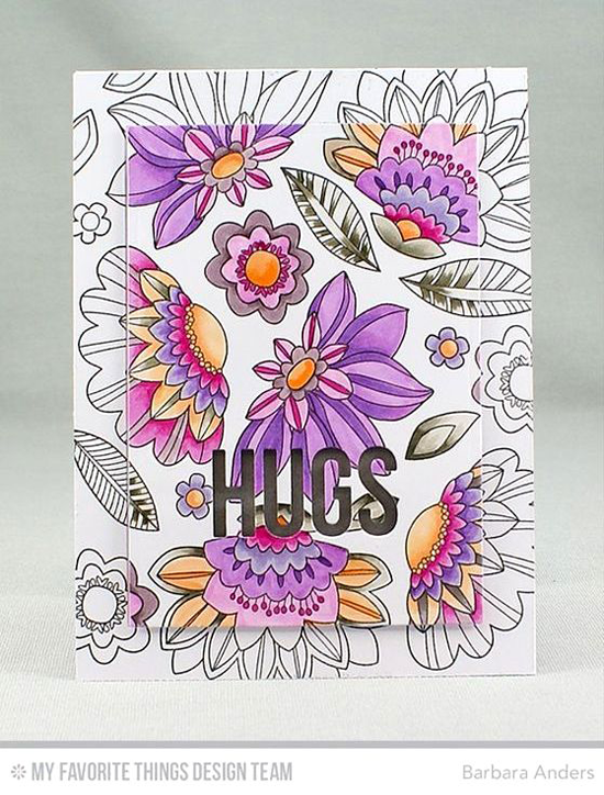 Handmade card from Barbara Anders featuring Fancy Flowers Card Kit #mftstamps