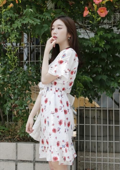 Drawstring Floral Print Dress