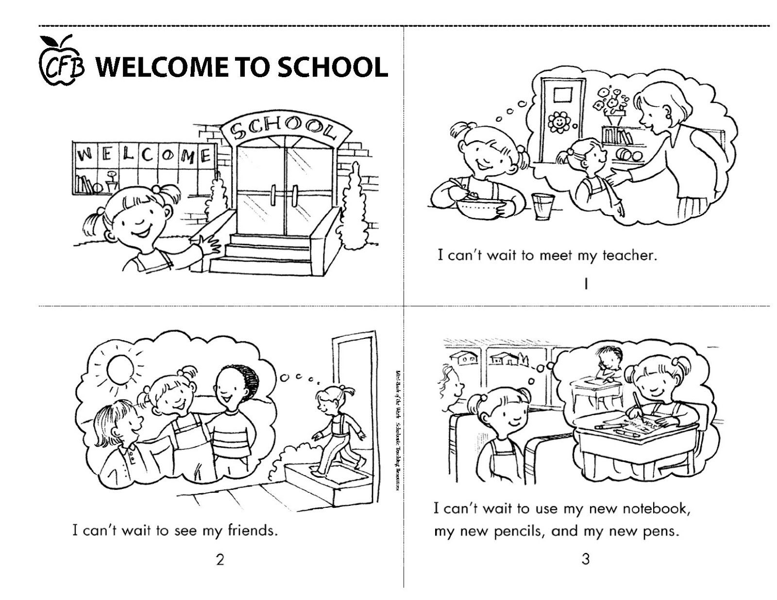 Children Reading Book Coloring Page For Preschoolers Back: Future C-FB: Parenting Young Children: Welcome To School