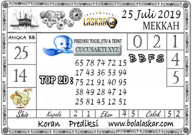 Prediksi Togel MEKKAH LASKAR4D 25 JULI 2019