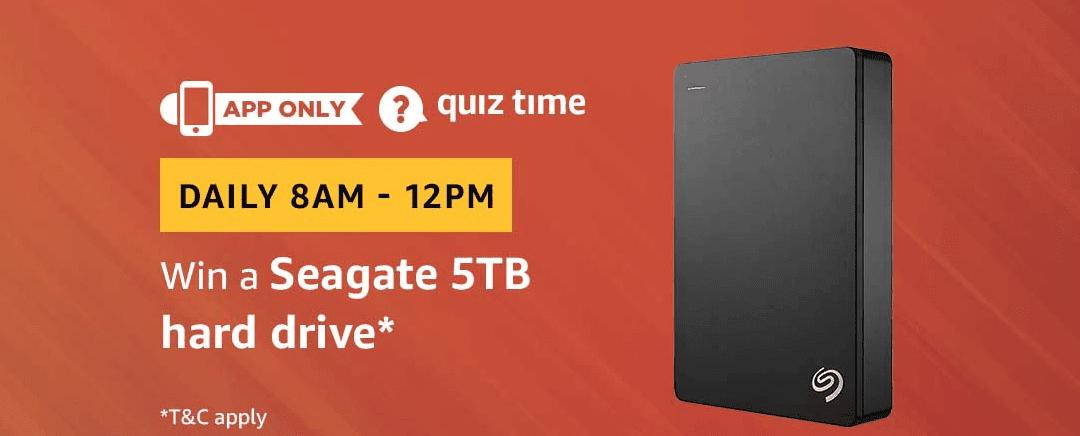 Amazon Quiz Today  05 July  2019 Answers - Win Seagate 5TB Hard Drive