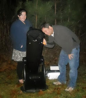 "Image of Clark University student Stephanie Fussell and I  visually observing galaxies for her astronomy class project - ""Classifying Galaxy Types"""