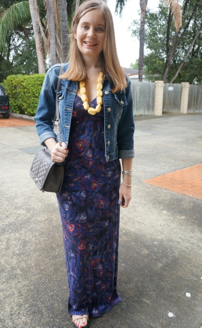 Autumn Denim jacket, JayJays feather print maxi dress, Rebecca Minkoff Love bag | AwayFromBlue