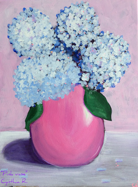 pink vase, hortensias azules, florero rosado, pink vase with blue flowers, pintura acrílica en canvas, acrylic painting on canvas