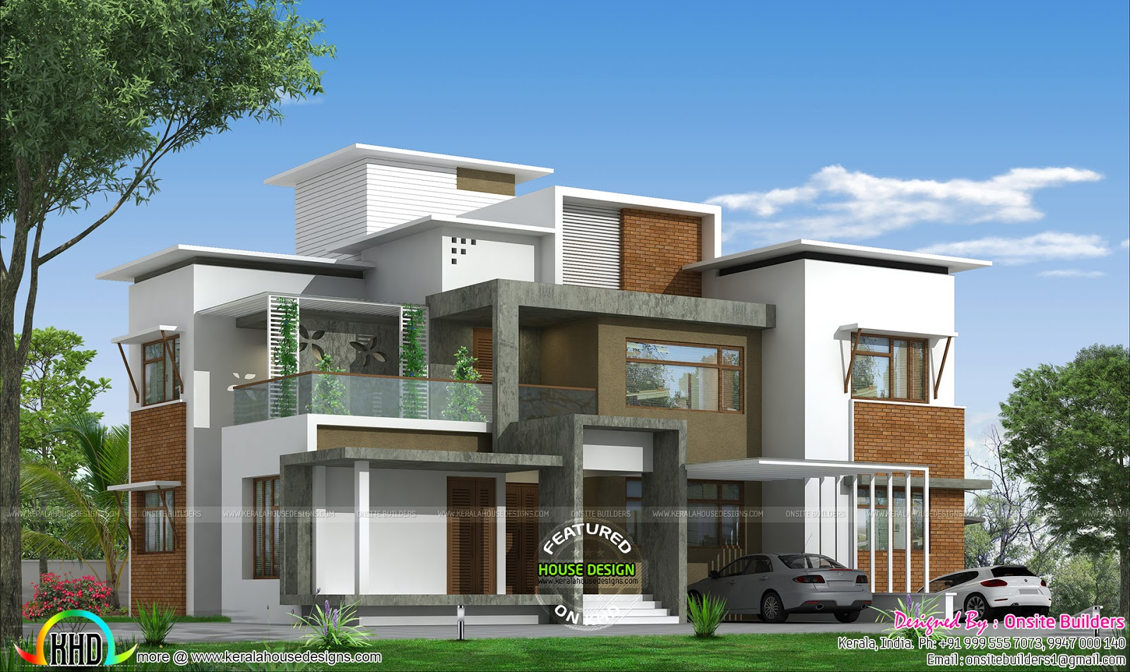 4 bhk box type modern home kerala home design and floor for Modern roof design types