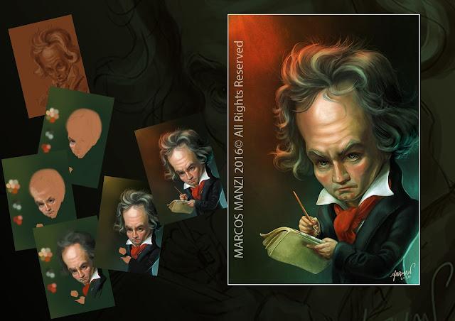 Ludwig van Beethoven caricatura
