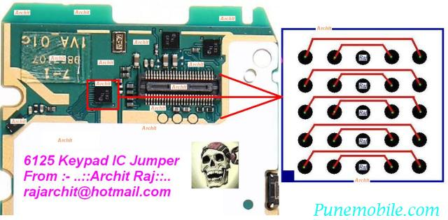 nokia 6125 Keypad IC Jumper pcb circuit layout diagram