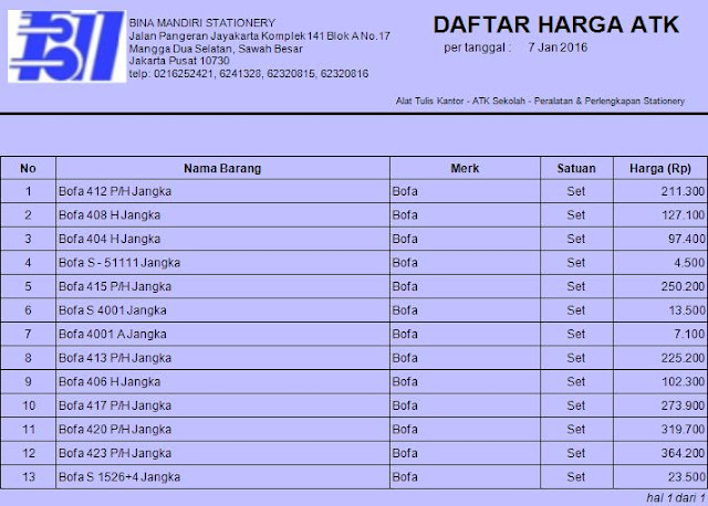 Daftar harga Stationery 2016 Jangka BOFA www.binamandiristationery.co.id