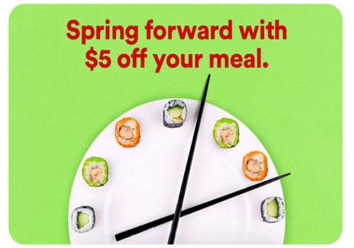 JustEat $5 Off Promo Code Spring Forward