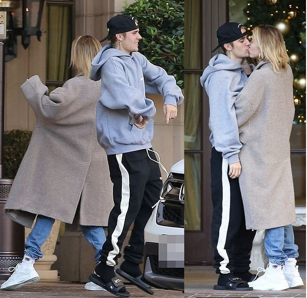 Justin Bieber and wife Hailey Baldwin show off their dance moves before sharing a passionate kiss in Beverly Hills (Photos)