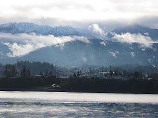 The Port Angeles Bay with the city in the foreground and the Olympic Mountains in back.