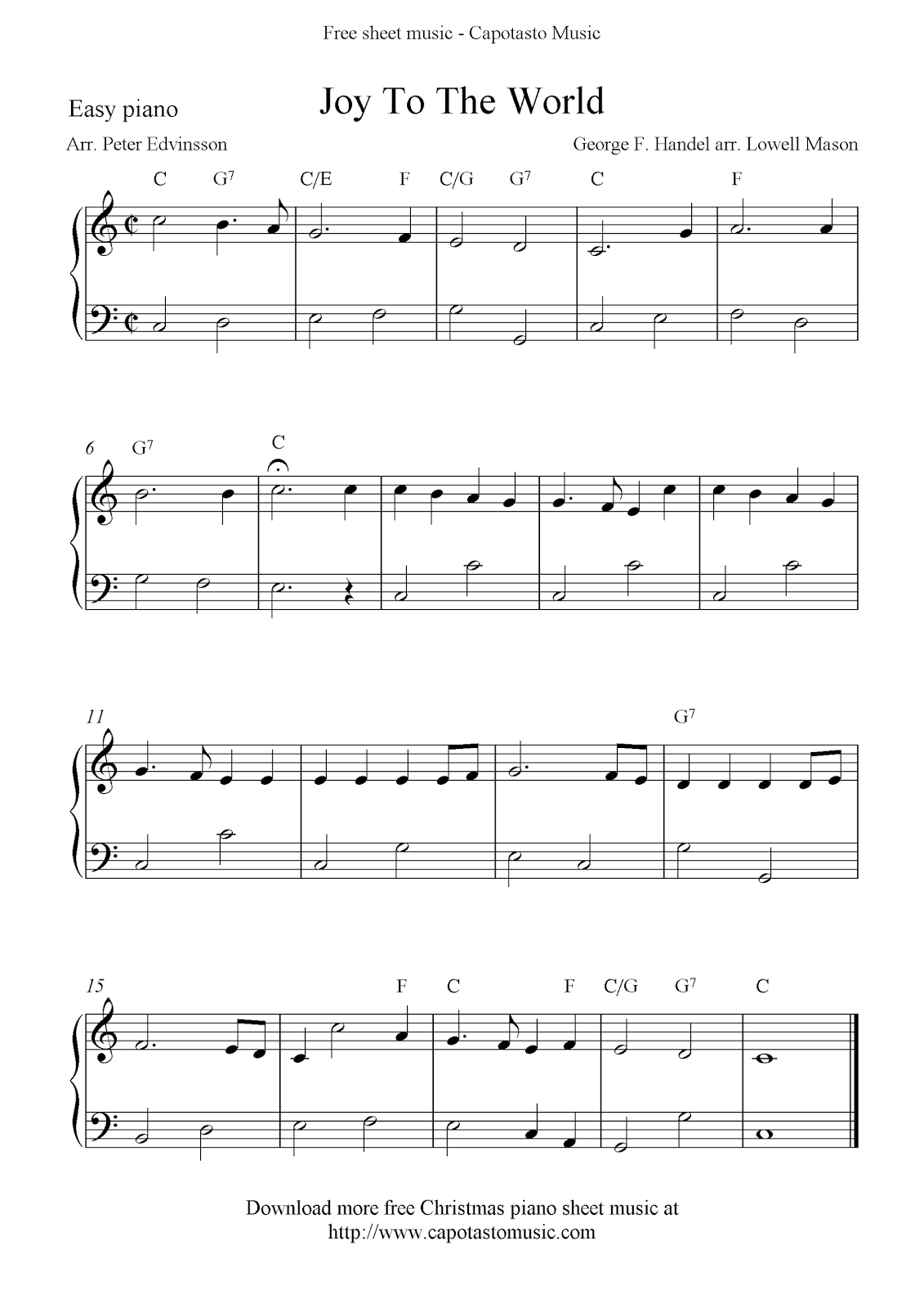 Easy Free Christmas Piano Sheet Music Notes Joy To The World