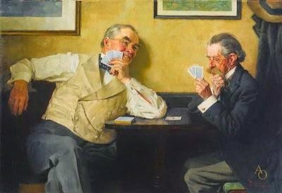 Norman Rockwell, Two Old Gents Playing Cards (1929)