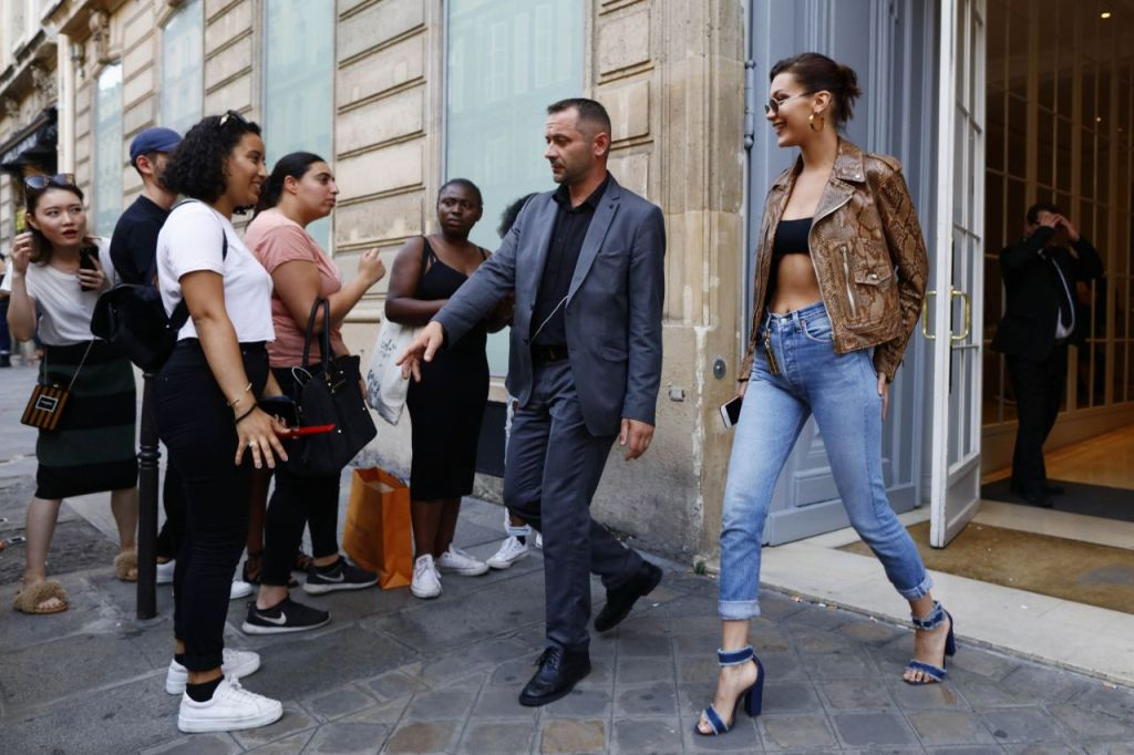 Bella Hadid Style Out in Snakeskin Top in Paris