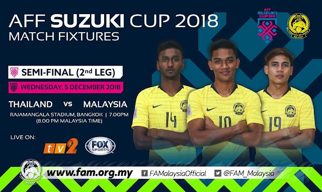 [LIVE] Piala AFF Suzuki Semi Final 2 : Malaysia VS Thailand (5 Disember 2018)