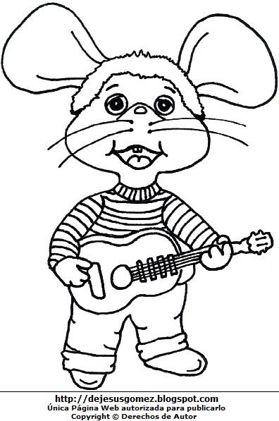 Dibujo de Topo Gigio con su guitarra para colorear, pintar o imprimir. Imagen de Topo Gigio de Jesus Gómez