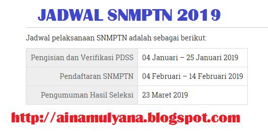 JADWAL PENDAFTARAN SNMPTN 2019