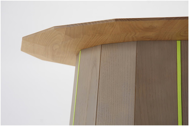 Detail of Colour Wood side table with neon yellow stripes designed by Scholten & Baijings for Karimoku New Standard