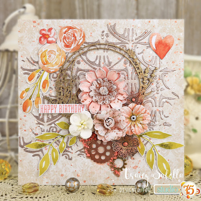 Floral Mixed Media Birthday Card by Tracey Sabella for Studio75: #traceysabella #studio75 #scrapiniec #cadence #littlebirdiecrafts #acmoore #littlebirdiecraftsflowers #prills #finnabair #rangerink #heidiswapp #helmar #scrapbookadhesivesby3l #mixedmedia #shabbychic #mixedmediaart #mixedmediacard #mixedmediacards #shabbychiccard #shabbychiccards #diycard #diycards #handcraftedcard #handcraftedcards #diycrafts #spring #springcard #handmadecard #handmadecards