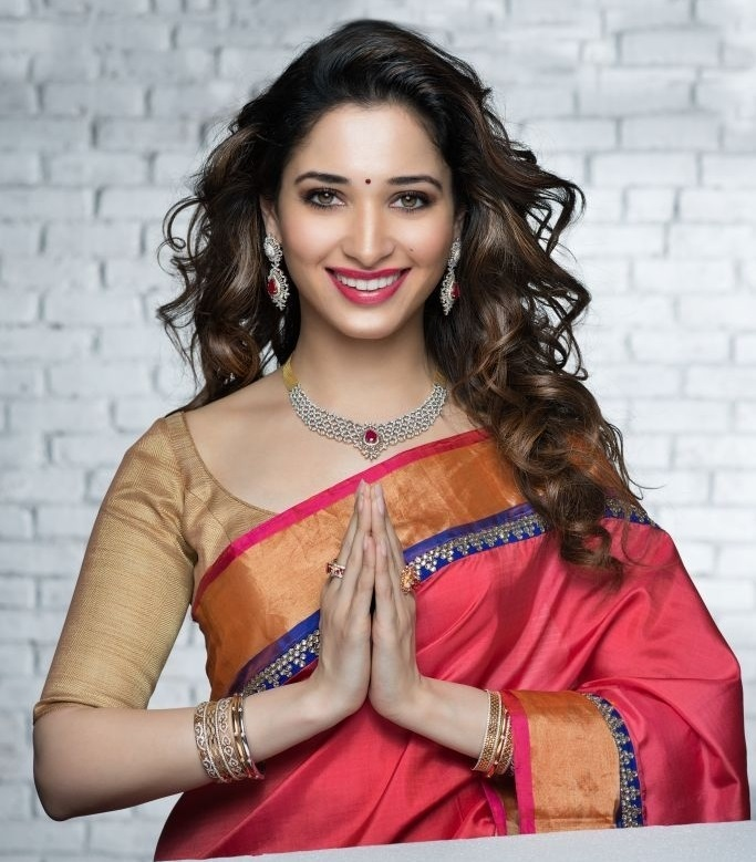 Glamours Tollywood Actress Tamannaah Hot Long Hair In Red Traditional Saree
