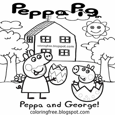 Easy Basic Drawing For Kids Peppa Pig Printables Eating Chocolate Easter Egg Coloring Free Pictures