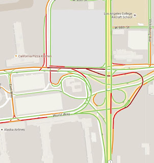 United & Southwest traffic view of red and green at LAX