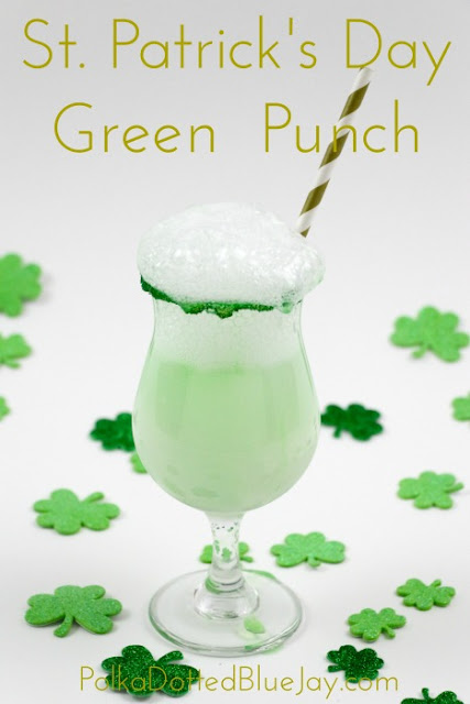 How to make green punch for a simple St. Patrick's Day treat with sherbet. Click through for how to make this pinch proof treat!