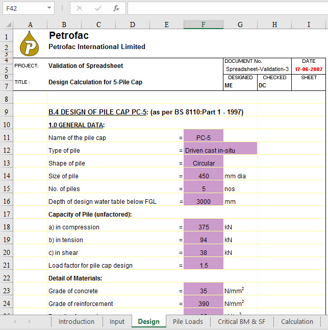 Pile Cap Design Excel Sheet
