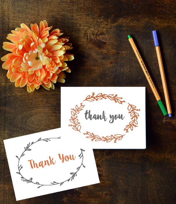 Fall Thank You Cards Free Printables