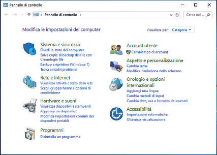 Come aprire pannello di controllo Windows 10
