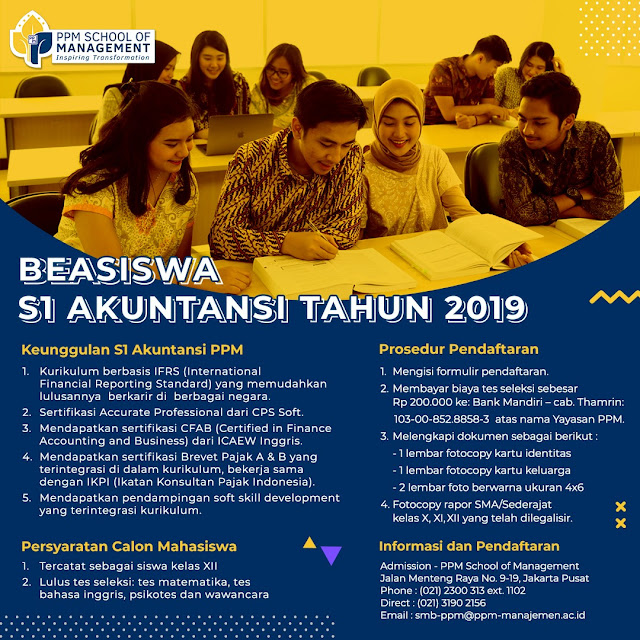Beasiswa S1-Akuntansi PPM School of Management
