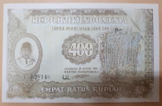Uang 400 Rupiah Tahun 1948 Soekarno UNC
