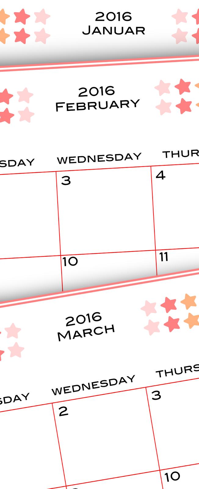free printable 2016 planner calendar monthly calendar kalender freebie meinlilapark. Black Bedroom Furniture Sets. Home Design Ideas