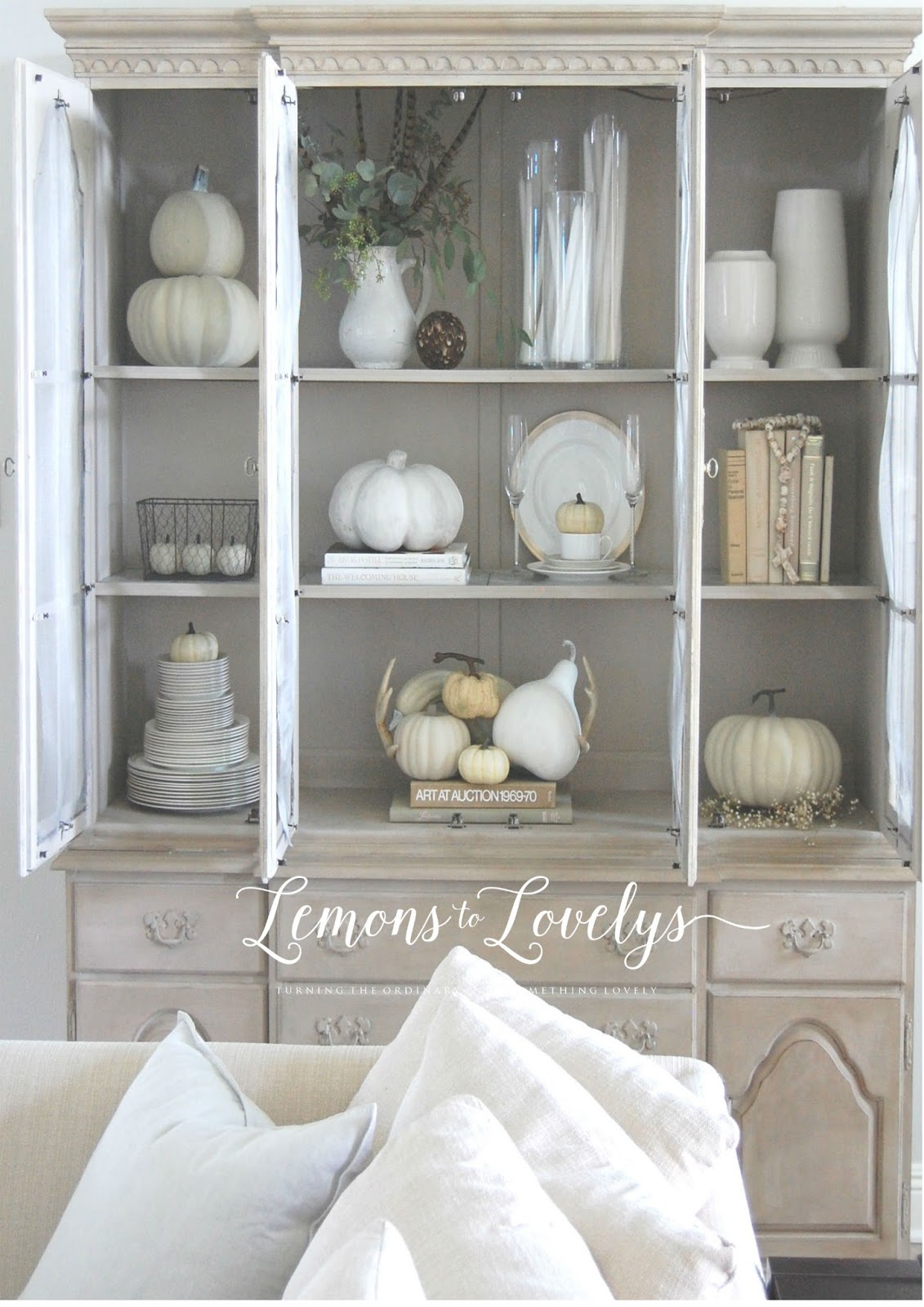 Nice double stack faux pumpkins Hobby Lobby spray painted with ivory spray paint white pitcher Redoux Home Market eucalyptis Fresh Market
