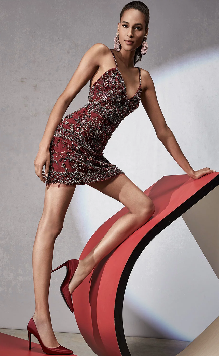 Jovani Beaded V-Neck Slip Cocktail Dress