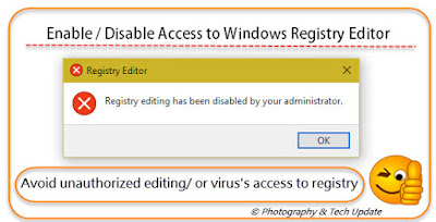 Restrict disable or Prevent access to Windows Registry Editor