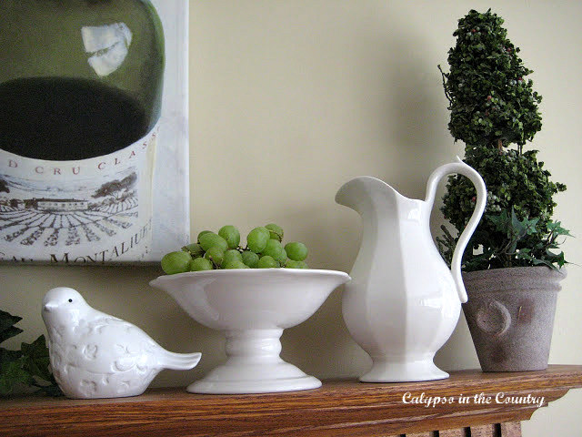 Green and White for Spring - A Wine Themed Mantel