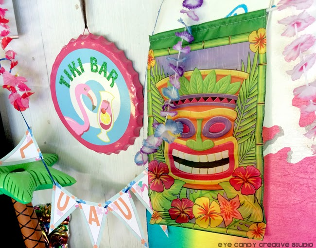 end of school year, luau party ideas, tiki bar, luau banner, leis, florals