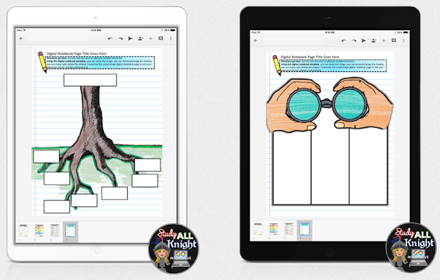 Digital interactive notebooks are a great way to get kinesthetic & visual learners engaged in the upper elementary, middle school, or high school classroom! Click through to see ten different versions of digital interactive notebooks in use so you can visualize how great these would work in your literacy classroom for 3rd, 4th, 5th, 6th 7th, 8th, 9th, 10th, 11th, or 12th grade students! Great ideas and all the resources you need are located in this post!
